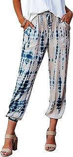 NIMIN Women's Comfy Casual Pants Tie Dye Print Drawstring Pants Soft Pajama Pants Joggers Lounge Pants with Pockets