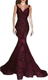 OYISHA Women's Formal Sequin Mermaid Prom Dresses Long V-Neck Wedding Evening Pageant Dress EV44