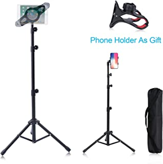 "T-Sign Reinforced IPad Tripod Stand Mount - Foldable Floor Tablet Holder, Height Adjustable 360 Rotating Stand for iPad Mini/Air and More 7"" to 12"" Tablets, Carrying Case and Phone Holder As Gifts"