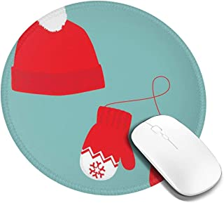 Round Mouse Pad,Pair of Xmas Mittens Winter Hat with Pompom Holiday Accessories,Non-Slip Gaming Mouse Mat,4 PCS
