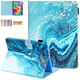 Dteck Case for Samsung Galaxy Tab S 8.4 SM-T700 2014 Model - Slim Fit Folio Stand Premium PU Leather Protective Case with Card Holders Wallet Cover for SM-700/SM-T705, Green Marble