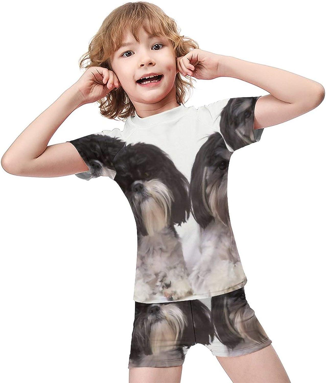 Yiaoflying Kids Boys 2 Piece Swim Set - Shih Tzu Rashguard Swimsuit Trunks