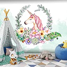 Fotomural Grande 3D Wallpapers-Acuarela Unicornio Papel Tapiz Habitación Para Niños Chica Princesa Nordic Ins Papel Tapiz Habitación Fondo De La Pared Paño 150Cmx105Cm (59.1 Por 41.3 Pulg.)