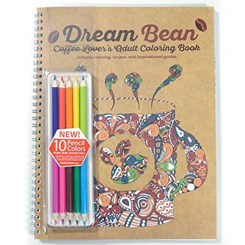School Datebooks Coffee Lover's Coloring Book and Colored Pencils
