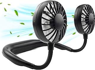 Portable Neck Fan, USB Rechargeable Neck Sports Fan Hand Free, Desk Fan (3 Speed Adjustable) Wearable Cooling Head Fan,360 Degree Free Rotation for Traveling, Sports, Office, Reading