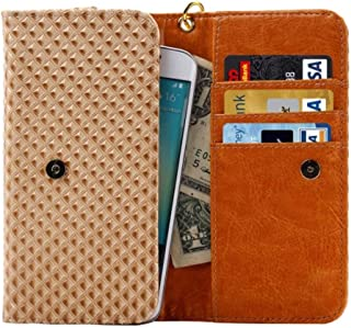 DFV mobile - Cover Premium Case with Design Grid Texture with Card Slots & Lanyard for UMI Umidigi Z2 Pro (2018) - Beige