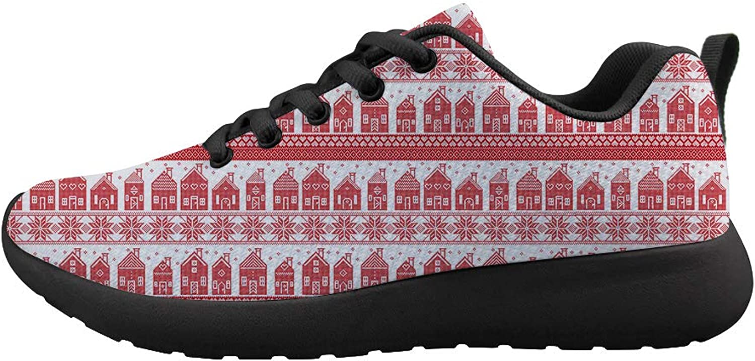 Owaheson Cushioning Sneaker Trail Running shoes Mens Womens Ugly Christmas Full Warmth Home