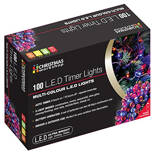 The Christmas Workshop - Catena di luci natalizie a LED, con timer, 100 luci, a batteria, multicolore