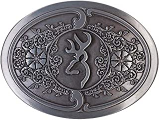 Embossed Metal Buckmark Logo Belt Buckle (Silver, 3