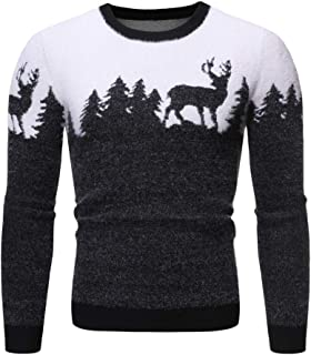eipogp Men's Crewneck Ribbed Sweaters Pattern Long Sleeve Pullover Knit Jumper Winter Thermal Napping Blouse Tops