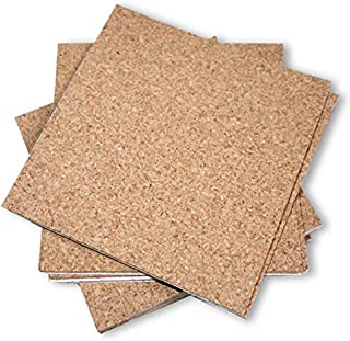 Flowe Cork Tiles, Self-Adhesive Backing for Coasters, Tiles, Wall Bulletin Boards, Natural, (4