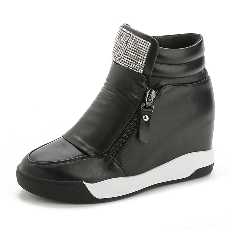 [サニーサニー] 婦人靴 スニーカー シークレットシューズ 厚底 ハイカット インヒール ジッパー ビジュー カジュアル 美脚 クッション 歩きやすい 柔らかい 可愛い オシャレ 通気性 快適 フラット 通学 通勤 レディース