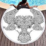 Eimeeho Astrology Round Beach Towel Astrology Taurus Sign Zodiac White Black Large Oversized Microfiber Yoga Picnic Mat Swimming Pool Blanket Beach Towel with Tassels 59''