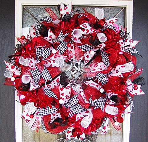 XL Fun Red Bling Valentine's Day Deco Mesh Front Door Wreath, Porch Patio Yard Art Decor, Wall...