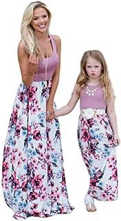 96f1d7a021218d Wide.ling Sommer- Mode Maxi Kleid Beiläufige Familie Kleidung Mädchen Kleid  Mutter Und Tochter