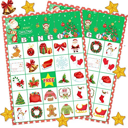 Funnlot Christmas Bingo Game for Large Group Christmas Party Games for Kids 24 Players Christmas Activities Christmas Bingo Cards for School Classroom Family Activities Christmas Party Supplies