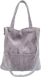 Ulisty Damen Große Cord Schultertasche Lässige Handtasche Mode Einkaufstasche Umhängetasche grau