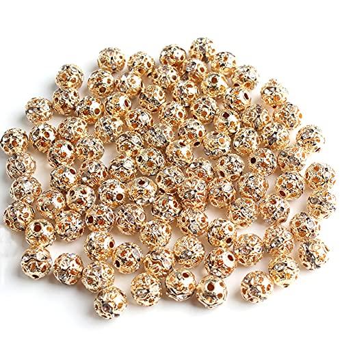 CHUNJ 50 Uds Bolas Multicolores de Diamantes de imitación Cuentas Redondas espaciadoras Sueltas de Cristal para Hacer Joyas Accesorios de Pulsera 6 / 8mm