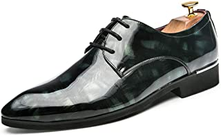 Men's Business Oxford Insouciant Personality Fashion Retro Brush Coloration Breathable Patent Leather Formal Shoes casual shoes (Color : Green, Size : 41 EU)