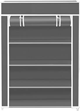 KROOH Multipurpose Portable Folding Shoes Rack 4 Tiers Storage Organizer Cabinet Tower with Iron and Nonwoven Fabric with Dig