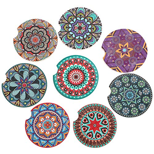 COFOZA Set of 8 Car Coasters Mandala Style Absorbent Ceramic Car Coaster for Cup Holder with Finger Notch Easy Removal Best Auto Accessory Keep Vehicle Cupholder Dry and Clean(Multi-Color 2.56'')
