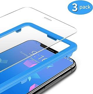 TAMOWA (3-pack skärmskydd för iPhone 11 Pro/iPhone X/iPhone XS, premium härdat glas 9H skottsäker film med installationsra...