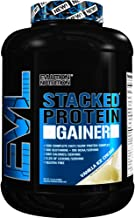 Evlution Nutrition Stacked Protein Gainer Protein Powder with 50 Grams of Protein, 12 Grams of BCAAs and 10 Grams of Glutamine (Vanilla Ice Cream, 7 LB)