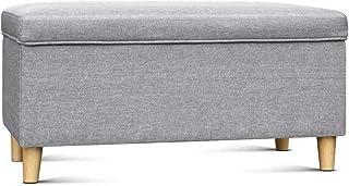 Keezi Storage Ottoman Blanket Box Toy Chest Kids Foot Stool Couch Light Grey