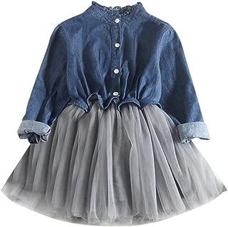 ❤️ Mealeaf ❤️ Toddler Kids Girls Denim Dress Long Sleeve Princess Tutu Dress Cowboy Clothes 0-8t