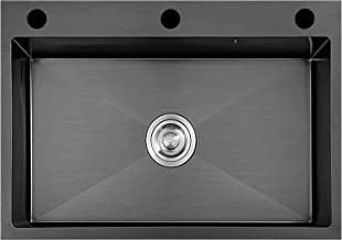 FSFF 3-gaats spoelbak microkristallijne nano zwarte diamant, single-slot huishoudelijke keuken zwarte gootsteen is mooi en...