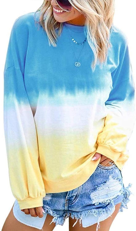 Pongaps Damen Herbst Winter New Pul r Regenbogen Gradual Printed Langarm Sweatshirt T-Shirts