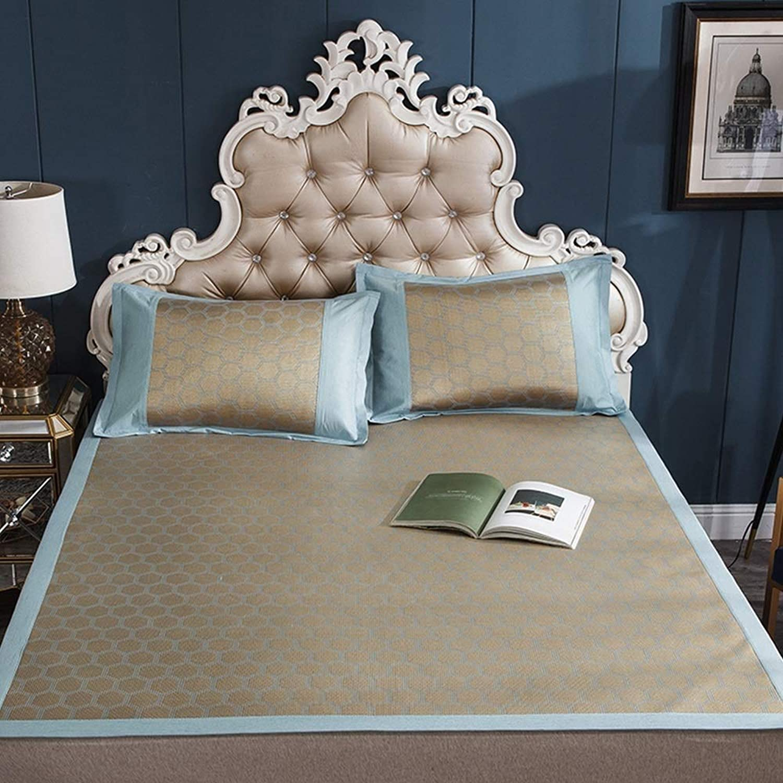 TYUIO Mattress Topper Pad Cooling Summer Sleeping Mat and Pillow Shams Set, Rattan mat mat Summer air-Conditioned Room Sleeping mat Foldable (color   E, Size   180x220cm)