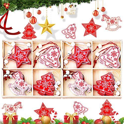 Natale Ciondolo in Legno BESTZY 24 pezzi Pendenti Legno Natalizi Addobbi Albero di Natale Decorativi per Albero di Natale Fai da Te Bianco Rosso