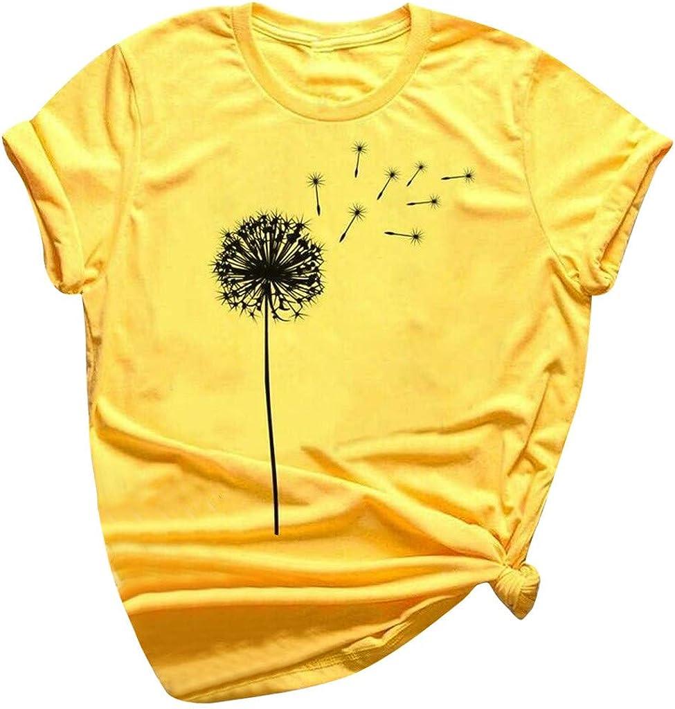 Women's Short Sleeve T-Shirt Casual Dandelion Printed Fashion Crewneck Loose Fit Tee T-Shirt Crop Tops Blouse
