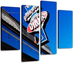 doo wop Diner Retro diners and Pictures Canvas Wall Art Hanging Paintings Modern Artwork Abstract Picture Prints Home Decoration Gift Unique Designed Framed 4 Panel