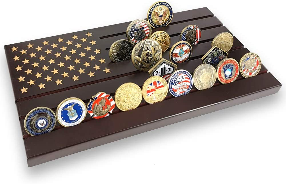 Military Challenge Coin Display Stand American Flag Holder Rack 6 Rows...