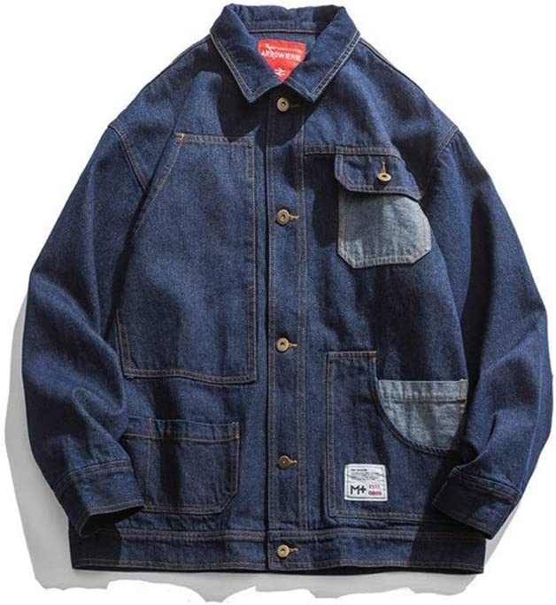 QNONAQ Denim Jacket Top Men's Wear Fashion Large Size Loose Denim Coat for Men Patchwork Pocket Jeans Jacket Casual Jacket Streetwear (Color : Blue, Size : Large)