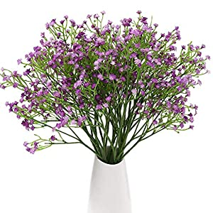 Qiddo 24 Pcs Baby's Breath Artificial Flowers Bulk Garlands for Decoration Gypsophila Real Touch Flowers for Wedding Party Home Garden Outdoor(Purple)