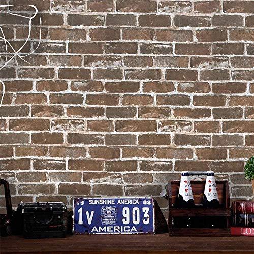 "Timeet 3D Vintage Brown Brick Wallpaper 17.7""×393.7""Brick Peel and Stick Wallpaper Brick Wallpaper Brick Self Adhesive FilmFaux Textured Wallpaper Stone Look Wall Paper Home Decor Vinyl"