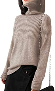 Cashmere Sweaters Women Loose Jumpers Wool Knit Split Thick Turtleneck Pullover Winter