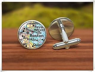 Gemelos con diseño de mapa de Boston, Gemelos de Boston, Gemelos personalizados, diseño de mapas vintage, gemelos de novio...