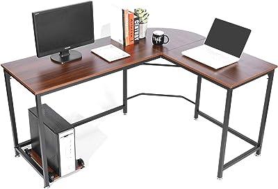 SimLife Reversible L-Shaped Desk Modern Corner Computer Desk for Home Office Wood & Metal (Small,Teak)
