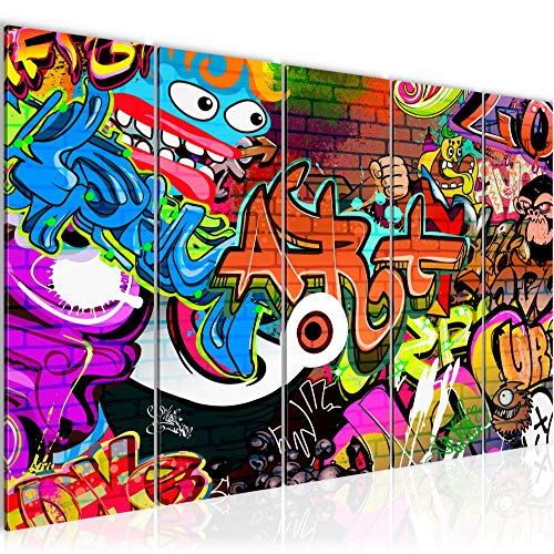 Bilder Graffiti Street Art Wandbild 150 x 60 cm Vlies - Leinwand Bild XXL Format Wandbilder Wohnzimmer Wohnung Deko Kunstdrucke Bunt 5 Teilig - MADE IN GERMANY - Fertig zum Aufhängen 402156a
