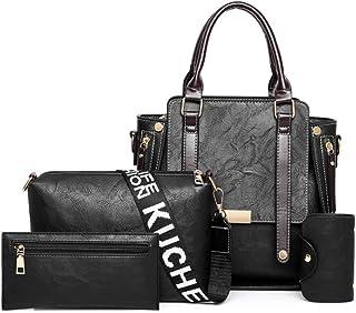 XKwjqDP Ladies Handbags Summer Set Vintage Shoulder Bag Retro Crossbody 2 Handbags +1 Crossbody Bag Handbag 4 Sets of Bags for Women Fashion,Leisure,Travel (Color : D)