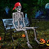 Halloween Decorations - 5 Ft Placeable Halloween Skeleton - Full Body Life-Size Skeleton Prop with Movable Joints for Halloween Outdoor Yard Haunted House Prop Decoration