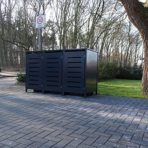 3 Mülltonnenboxen Modell No.6 für 240 Liter Mülltonnen / komplett Anthrazit RAL 7016 / witterungsbeständig durch Pulverbeschichtung / mit Klappdeckel und Fronttür