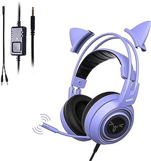 SOMIC G951S-Purple ゲーミングヘッドセット 猫耳ヘッドホン 高音質 3.5mm マイク付き 有線 ステレオ 軽量 在宅勤務 リモートワーク Web会議 オンライン授業 PC/PS4/Xbox/スマホ 紫色