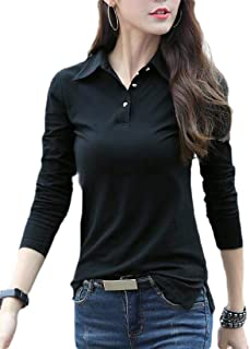 Tinyshine Women's Slim Top Button Tee Solid Color Long Sleeve T-Shirt