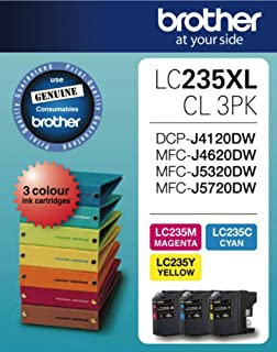 Brother LC-235XLCL3PK Genuine (3-Pack) Colours [C/M/Y] High-Yield Ink Cartridges
