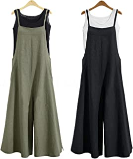 Facibom 2 piezas mujeres casual sólido espagueti correas anchas pantalones bolsillos flojos babero algodón lino mono XL ve...